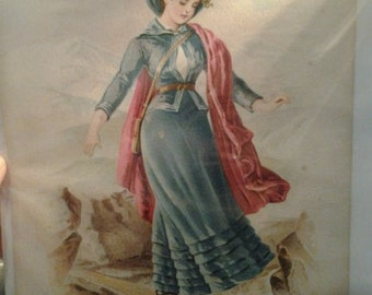 Adventurous Victorian Woman Balancing on Tree Branch Over River Lithograph