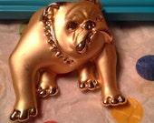 Vintage Signed, Hallmarked AJC Brushed Gold, Matte Tone Funny, Mean, Ugly Bulldog Brooch