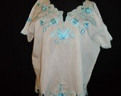 Blue Embroidered Mexican Vintage 1980's BOHO Womens Ethnic Shirt L XL