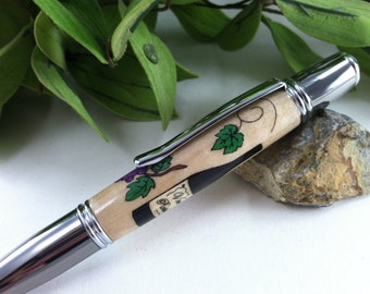 Grapevine - Wine Connoisseur Wood Inlay Writing Pen - Free Engraving
