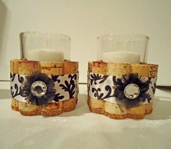 Cork Candles: Upcycled Wine Cork Votive Candle Holders Black And White