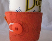 Reusable Coffee Sleeve Orange Print and Button