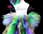 Toddler Mardi Gras Bustle Tutu with Peacock Feathers...Pageant, Photo Prop, Costume...Sizes 6 Months to 4T