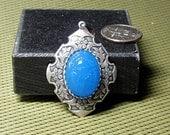 Blue Scarab in Heirloom Setting