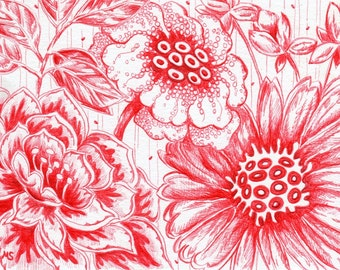 "Original Drawing - Red Flower Illustration - Pen and Ink Drawing - 4x6"" Flower Art  - Miniature Art - Exotic Red Flowers - Girlfriend Gift"