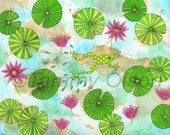 "Mixed media collage, frog, lily pads, flowers, water, Limited edition print 2/250, ""Hoppy Times"""