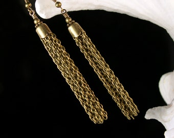 Chain Tassel Steampunk Earrings, Victorian Charm Dangle Drops, Antiqued Gold Brass Filigree, Titanic Temptations Vintage Style Jewelry