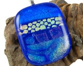 dichroic glass pendant blues and golds