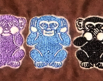Fully Lined Drawstring Pouch with Embroidered Wise Monkeys