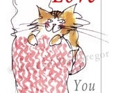 Cat Love Card for Valentines Day or Anytime - MacGregorArt