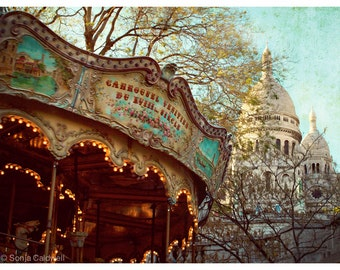 Carousel at Sacre Coeur, French carousel photograph - Montmartre, Paris - 9x12 - Original Fine Art Photography