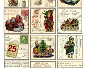 Digital Collage Sheet - christmas - Vintage Printable Tags large square images 2.5 inch postcard background label card - Download and Print