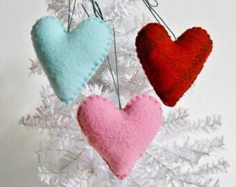Heart Ornaments - Small Wool Stuffed Hearts - Puffy Wool Decorations - Ornies - Shelf Hangers