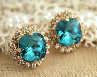 Blue Teal Earrings,Swarovski Stud Earrings,Gift for her Christmas Gift,Bridal Swarovski Earrings,Bridesmaids Earrings,Blue Zircon Earrings