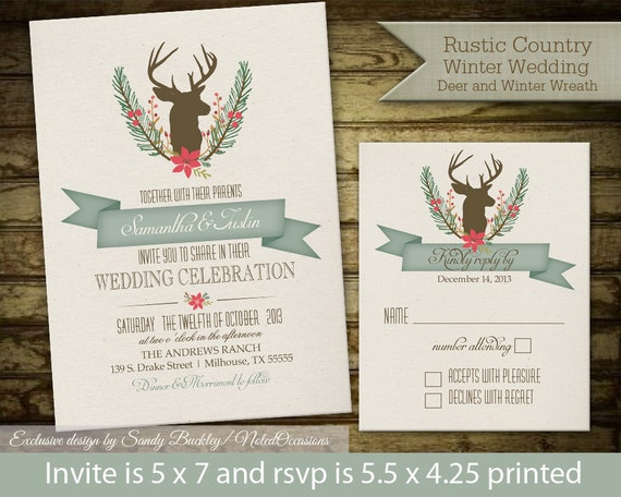 Rustic Winter Wedding Invitations: Rustic Deer And Antlers Wedding Invitations On By