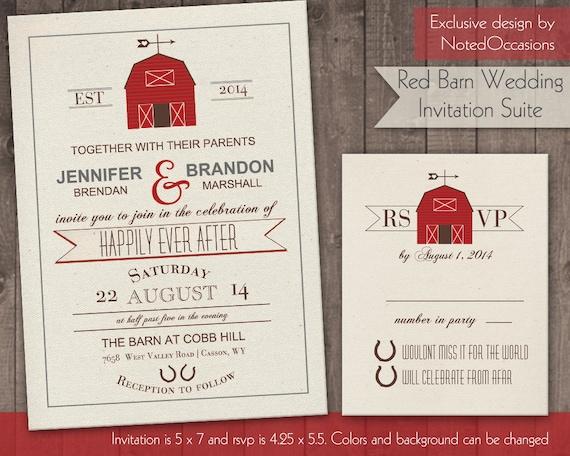 Printable Barn Wedding Invitation Rustic Barn by ...
