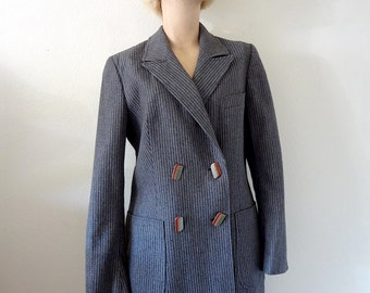 1970s Wool Jacket / 40s style double breasted pinstripe suit coat / vintage fall fashion