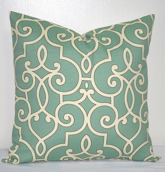 Seafoam Green and White 18inch Decorative Pillows Throw Pillow