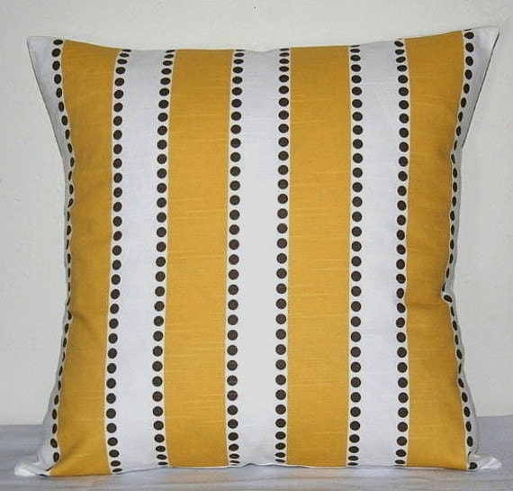 Yellow and White Striped 18 inch Decorative Pillows Accent