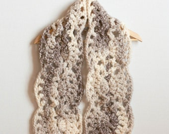 CROCHET PATTERN instant download - Vanilla Volcano Scarf  - ivory brown wavy lace picot shell shawl PDF