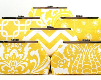 Bridesmaids Clutch Choose Your Fabric Yellow Set of 8
