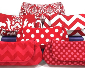 Bridesmaid Clutches Wedding Clutch Bridal Party Purses Choose Your Fabric Red Set of 7