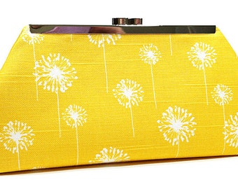 Clutch Purse - Yellow White Dandelions