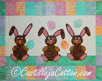 Bunnies Juggling Eggs Quilted Wall Hanging, 4663-0, easter wall quilt, bunny wall hanging, bunny wall art
