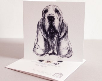 Fine art Card - Basset Hound in Charcoal