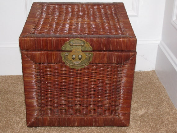 Wicker Storage Box Trunk Square Chest Ottoman Two