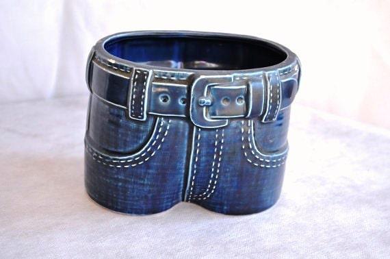 Vintage Blue Jeans Planter Pants Pot Patio By Thevelvetbranch
