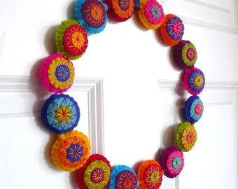Colorful felt wreath - made to order