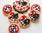 Button Black Check Chicken handmade polymer clay button set ( 7 )