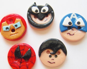 Button Super Heros handmade polymer clay buttons ( 5 )