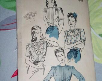 """Vintage 1940s Advance Pattern 3652, Misses Blouse, Size 16, Bust 34"""", Hip 37"""", Waist 28"""""""
