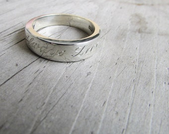 engraved band wedding ring wedding band sterling silver heirloom ring silver band modern