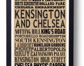 Kensington & Chelsea, London Typography Art Print