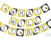 What Will it Bee party banner for a gender reveal baby shower - instant download diy printable digital design
