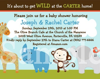 "Personalized ""Wildlife Jungle Animals"" Printable Baby Shower Invitation 5x7 U Print yourself"