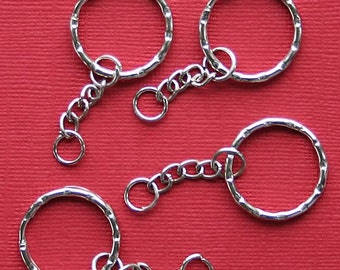6 Key Chain Rings 20mm with Attached Chain Z05