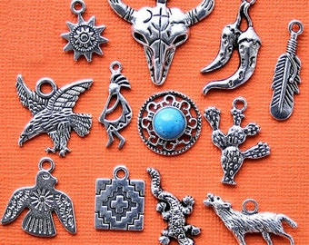Southwestern Charm Collection Antique  Silver Tone The Ultimate 12 Different Charms - COL179
