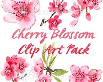 Cherry Blossom Watercolor Clip Art - Scrapbooking - Painting - Digital Collage - Wedding Flowers Clip Art - Pink Flower Art