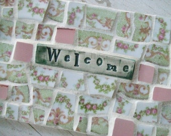 Mosaic Welcome Sign - Welcome Sign - Limoges tiles - Pink and Green tiles - shabby chic sign