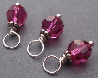 Dangle Birthstone Charms Fuchsia Pink Swarovski Crystals Wire Wrapped with Petite Bead Caps 6mm