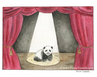 Panda Cub on Stage Art Print
