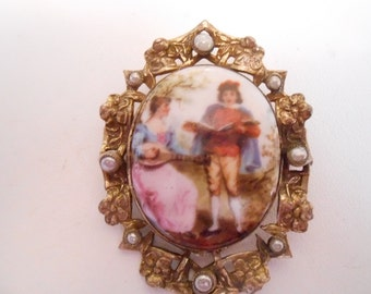 Vintage brooch, Antique victorian brooch, painted couple on porcelain, pearl, and gold filled brooch, Victorian  jewelry, antique jewellery