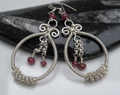 Elegant Sterling silver wire wrapped earrings with Ruby gemstone ooak
