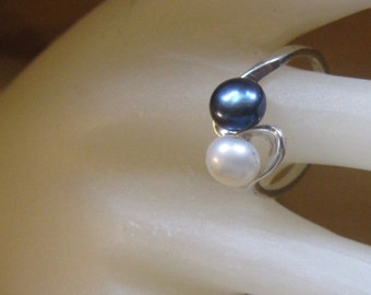 Cultured Pearl Ring Black/ White double Bi-pass Sterling Silver Custom single Mauve Pink 6mm half sizes 4 5 6 7 8 9 10 handmade fine jewelry