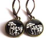 Black And White Flower Earrings Vintage Style Bohemian Fashion Jewelry