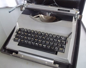 Sears Portable Electric Typewriter in Black and Grey, Vintage Typewriter, Home Decor, Writing, Typing, Original in Case, Portable